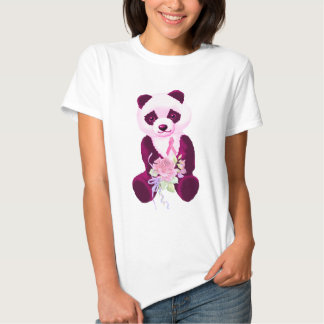 Pink Ribbon Panda Bear Tee Shirts