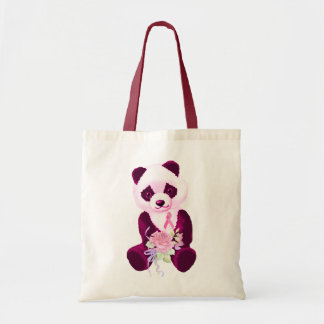 Pink Ribbon Panda Bear Tote Bags