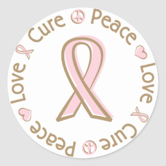 Pink Ribbon Peace Love Cure Breast Cancer Classic Round Sticker
