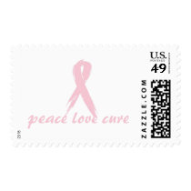 pink ribbon; peace love cure postage