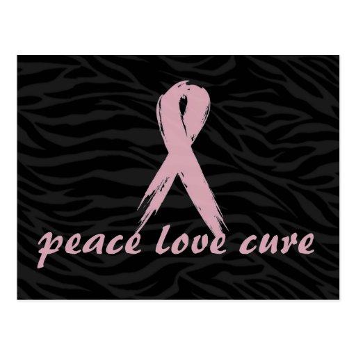 pink ribbon; peace love cure zebra print post card