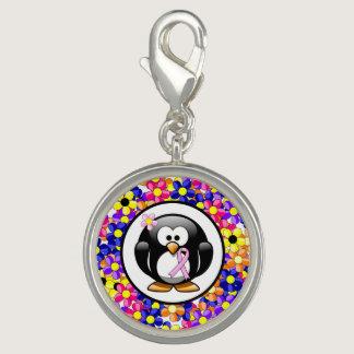 Pink Ribbon Penguin Photo Charms