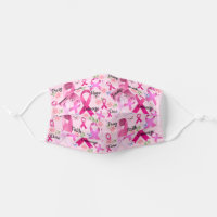 Pink Ribbon Personalize Words & Name Breast Cancer Adult Cloth Face Mask