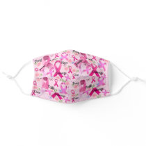 Pink Ribbon Personalize Words & Name Breast Cancer Cloth Face Mask