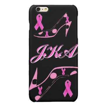 Pink Ribbon Personalized Monogram Glossy iPhone 6 Plus Case