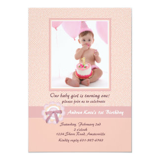 Pink Ribbon - Photo Birthday Party Invitation