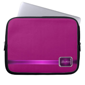 Pink Ribbon Pink Faux Jewel Monogram Sleeve Laptop Computer Sleeve