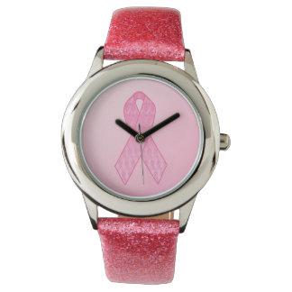 Pink Ribbon Pink Glitter Watch