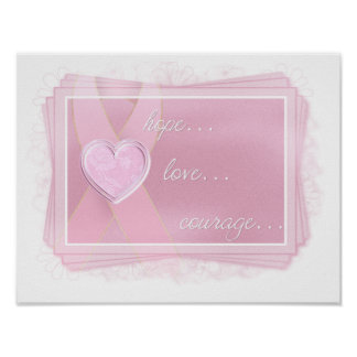 Pink Ribbon - Pink Heart - Hope/Love/Courage Print