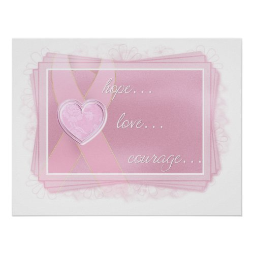Pink Ribbon - Pink Heart - Hope/Love/Courage Print zazzle_print