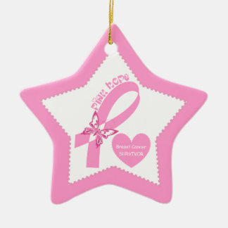 Pink Ribbon Pink Hope Breast cancer awareness Ceramic Ornament