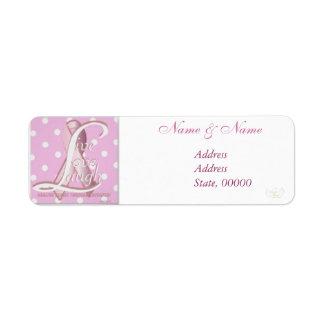 Pink Ribbon Polka Dots Address Label-Customize Label