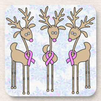 Pink Ribbon Reindeer - Breast Cancer Beverage Coaster