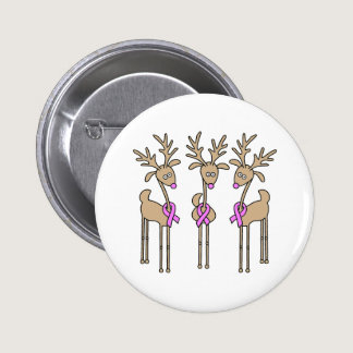 Pink Ribbon Reindeer - Breast Cancer Button