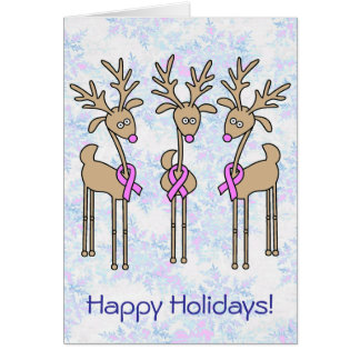 Pink Ribbon Reindeer - Breast Cancer Card