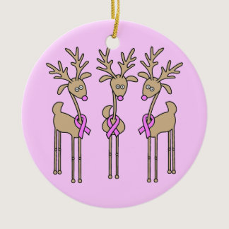 Pink Ribbon Reindeer - Breast Cancer Ceramic Ornament