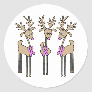 Pink Ribbon Reindeer - Breast Cancer Classic Round Sticker
