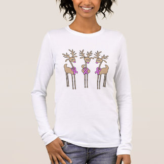 Pink Ribbon Reindeer - Breast Cancer Long Sleeve T-Shirt