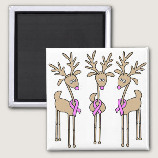 Pink Ribbon Reindeer - Breast Cancer Magnet