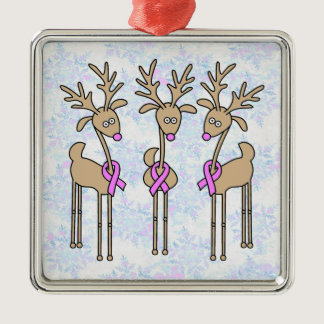 Pink Ribbon Reindeer - Breast Cancer Metal Ornament
