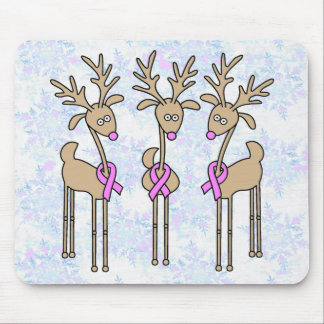 Pink Ribbon Reindeer - Breast Cancer Mouse Pad