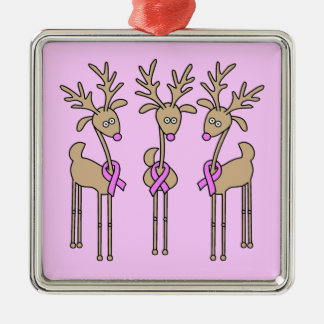 Pink Ribbon Reindeer - Breast Cancer Square Metal Christmas Ornament