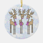 Pink Ribbon Reindeer - Breast Cancer Christmas Ornaments