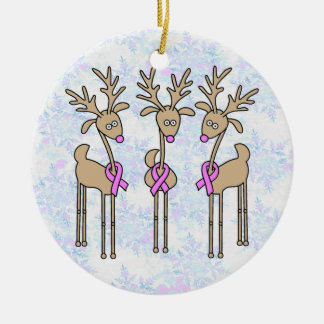 Pink Ribbon Reindeer - Breast Cancer Double-Sided Ceramic Round Christmas Ornament