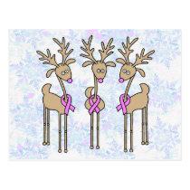 Pink Ribbon Reindeer - Breast Cancer Postcard