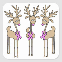 Pink Ribbon Reindeer - Breast Cancer Square Sticker