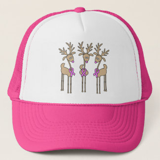 Pink Ribbon Reindeer - Breast Cancer Trucker Hat