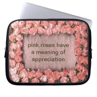 Pink Ribbon Roses Satin Photo Frame Electronics Ba Laptop Sleeve
