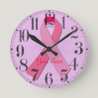 Pink Ribbon Round Clock