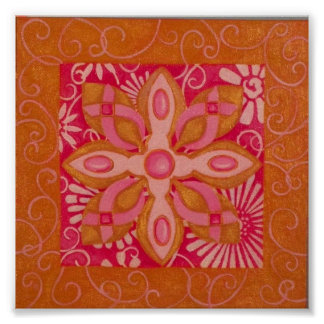Pink Ribbon Series: Abstract Flowers Poster