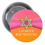Pink Ribbon Silver Star of David Buttons