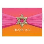 Pink Ribbon Silver Star of David Stationery Note Card