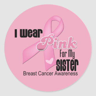 Pink Ribbon Sister Breast Cancer Round Stickers