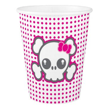 Halloween Themed Pink Ribbon Skull Halloween Party Cups
