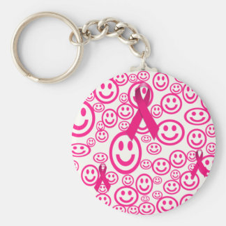 Pink Ribbon Smiles That Help Basic Round Button Keychain