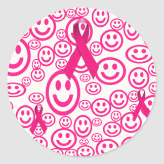 Pink Ribbon Smiles That Help Classic Round Sticker