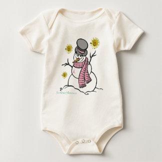 Pink Ribbon Snowman Infant Creeper