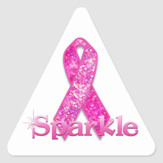 Pink Ribbon Sparkle gifts Triangle Sticker