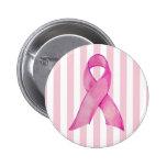 Pink Ribbon stripes Button