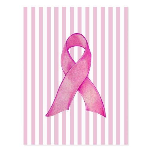 Pink Ribbon stripes Postcard