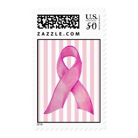 Pink Ribbon stripes Stamp