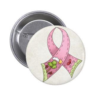 Pink Ribbon Sunny Hopeful Day Design Pinback Button