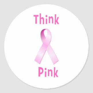 Pink Ribbon - Thnk Pink Classic Round Sticker
