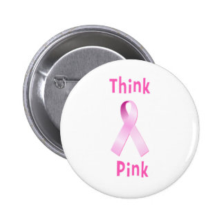 Pink Ribbon - Thnk Pink Pinback Button