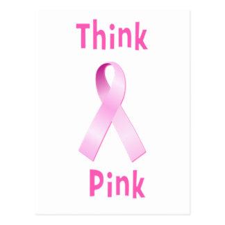 Pink Ribbon - Thnk Pink Postcard