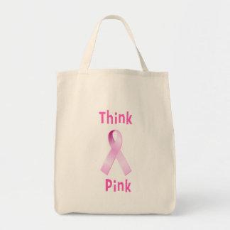Pink Ribbon - Thnk Pink Tote Bag